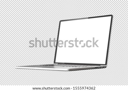 Laptop or notebook  with blank screen isolated with clipping path on transparent background  Royalty-Free Stock Photo #1555974362