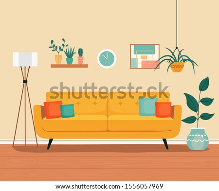 Furniture: sofa, bookcase, picture. Living room interior.Flat style vector illustration Royalty-Free Stock Photo #1556057969