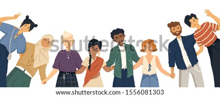 International friendship flat vector illustration. Young diverse people group standing together cartoon characters. Multiethnic unity and peace concept. Diversity and social togetherness idea. Royalty-Free Stock Photo #1556081303