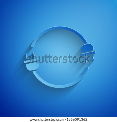 Paper cut Electric plug icon isolated on blue background. Concept of connection and disconnection of the electricity. Paper art style. Vector Illustration #1556091362
