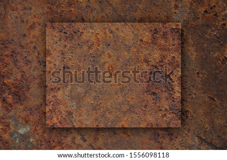 Detailed and colorful image of map of Wyoming on rusty metal #1556098118