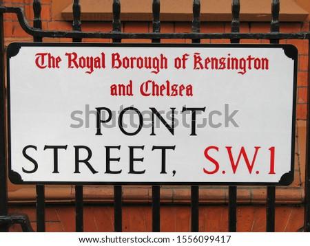 Pont Street street sign in London #1556099417