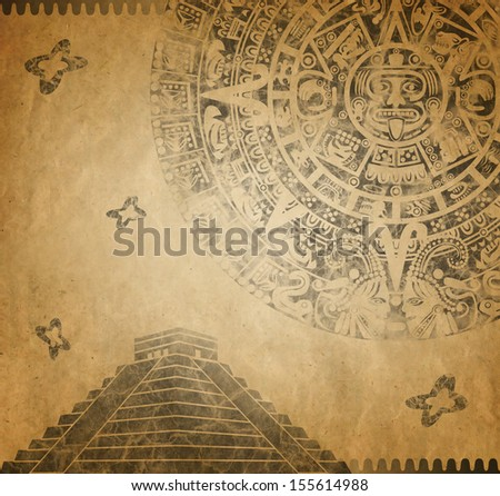 Background in American Indian Style with Mayan calendar and pyramid on old paper