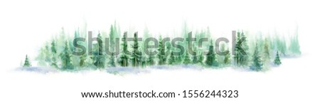 Landscape of foggy forest, winter hill. watercolor background. horizontal panorama