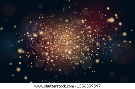 gold glitter backdrop. falling golden particles. Magic and luxury Christmas or party background design. #1556309597