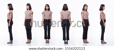 Collage Group Pack of Fashion Young Mother Indian / Asian Woman black hair beautiful make up purple dress black pants stand pose snap 360 body full length. Studio Lighting white Background isolated #1556322113