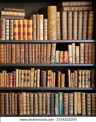 old books on wooden shelf #1556323205