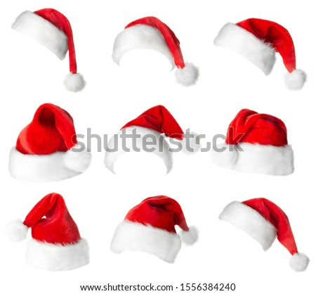 Santa Claus red hats isolated on white background #1556384240