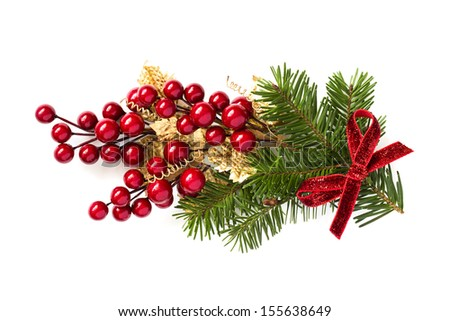 Christmas holly branch decoration isolated on white background. #155638649