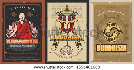 Buddhism religion posters with vector religious symbols of buddhist. Tibetan monk prayer wheels, Buddha and dharma wheel, parasol symbol of power, lotus flower and fishes, temple stupa, endless knot #1556401688
