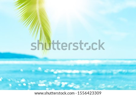 Blur beautiful nature green palm leaf on tropical beach with bokeh sun light wave abstract background. Copy space of summer vacation and business travel concept. Vintage tone filter effect color style #1556423309