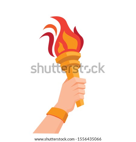 hand holding torch symbol flat illustration vector design