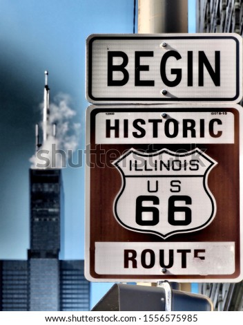 Begin historic 66 route sign (Chicago) #1556575985