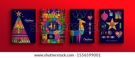 Merry Christmas holiday folk art card collection. Template set of scandinavian style xmas tree, reindeer and traditional geometric shapes in festive colors.  Royalty-Free Stock Photo #1556599001
