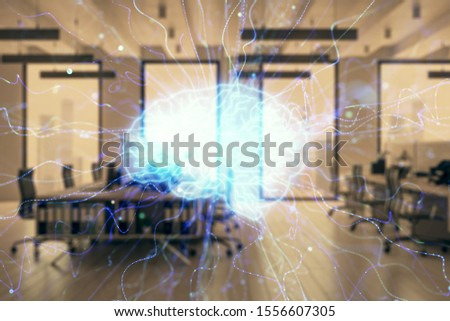 Human brain drawing with office interior on background. Double exposure. Concept of innovation. #1556607305