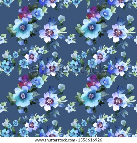 Decorative anemone flowers and  a blossoming apple tree twigs pink, lilac, blue with leaves on a blue background. Suitable for fabrics, chintz ,wrapping paper, wallpaper, clothes, curtains, home decor #1556616926