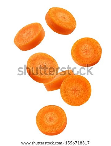 Falling Carrot slice isolated on white background, clipping path, full depth of field #1556718317