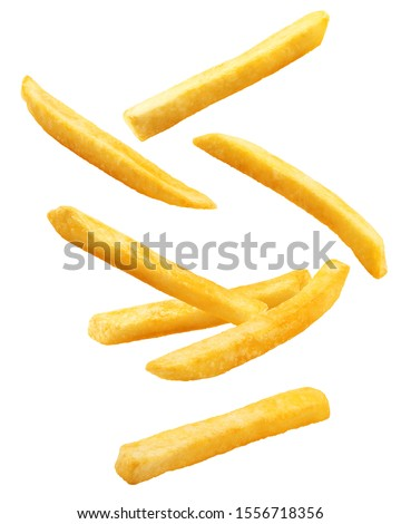 Falling french fries, potato fry isolated on white background, clipping path, full depth of field #1556718356