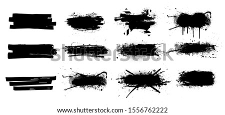 Ink splashes set. High level of tracing. Black inked splatter dirt stain splatter spray splash with drops blots isolated vector grunge silhouette set. Vector grunge silhouette set color dirty liquid #1556762222