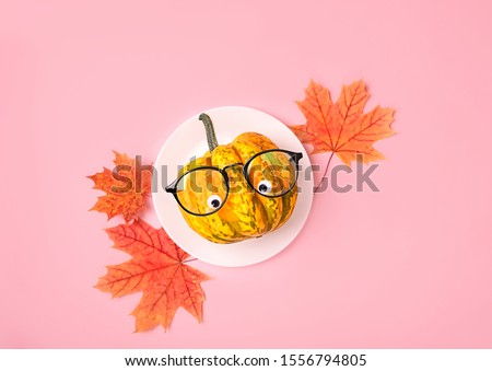 Creative autumn season concept. funny pumpkin in eyeglasses on plate with maple leaves, pink background. Festive table setting. Thanksgiving, halloween decor idea. top view