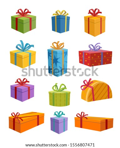 Colored Gift Boxes with Ribbon  Royalty-Free Stock Photo #1556807471