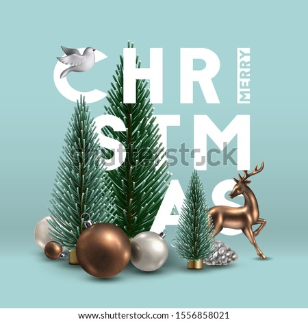 Christmas composition with traditional  decoration, Christmas trees, glass ornaments, gold deer and white dove. Christmas greeting card.  #1556858021