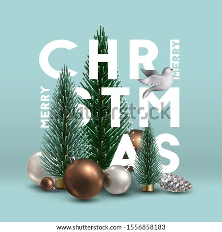 Christmas composition with traditional  decoration, Christmas trees, glass ornaments,  and white dove. Christmas greeting card. Elements for Christmas design. #1556858183