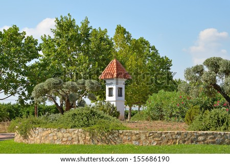 Small chapel at roundabout near Mascarell village in Valencia, Spain #155686190
