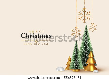Christmas and New Year background. Xmas pine fir lush tree. Conical Abstract Gold Christmas Trees. Snowflakes hanging on ribbon. Bright Winter holiday composition. Greeting card, banner, poster #1556873471
