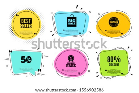 80% Discount. Best seller, quote text. Sale offer price sign. Special offer symbol. Quotation bubble. Banner badge, texting quote boxes. Discount text. Coupon offer. Vector #1556902586
