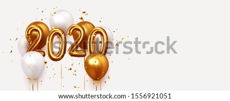 Happy New Year 2020. Realistic gold and white balloons. Background design metallic numbers date 2020 and helium ballon on ribbon, glitter bright confetti #1556921051