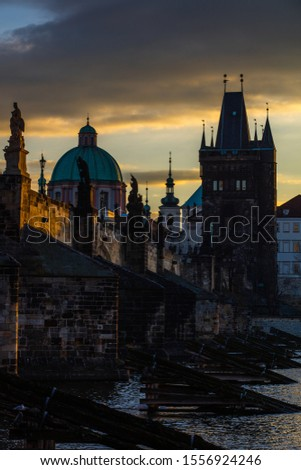 The view of Karl Bridge, Prague at sunrise #1556924246