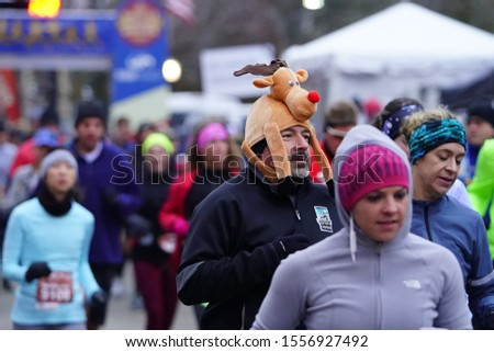 Madison, Wisconsin / USA - November 10th, 2019: Many runners and joggers throughout Wisconsin and the neighboring states came out to MADISON MARATHON PRESENTED BY SSM HEALTH.  #1556927492