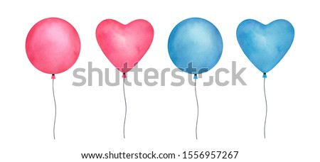 Colorful set of watercolor balloons on white background. Symbol of happiness, holiday, joy. Isolated clipart elements for design, greeting card, invitation, anniversary frame, special event banner.