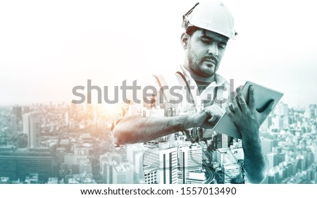 Future building construction engineering project concept with double exposure graphic design. Building engineer, architect people or construction worker working with modern civil equipment technology. #1557013490