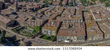 Beautiful panoramic aerial view of Pienza, small town of Tuscany. #1557088904