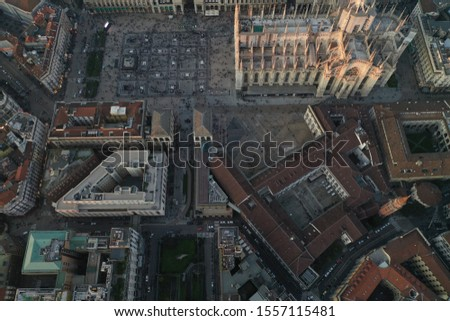 Milan cathedral and city centre drone  #1557115481