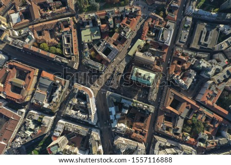 Milan Cathedral and city centre drone  #1557116888