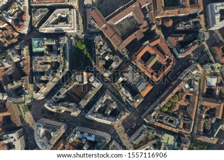 Milan Cathedral and city centre drone  #1557116906