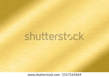 Abstract Shiny smooth line metal Gold color background Bright vintage Brass plate chrome element texture concept simple bronze foil panel hard backdrop design, golden light polished banner wallpaper.