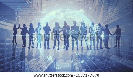Abstract crowd silhouette on city background. Success and meeting concept. Multiexposure #1557177698