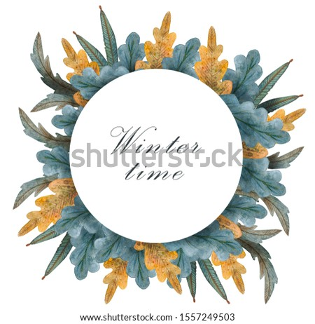 Christmas botany illustration. Watercolor winter floral wreath. Hand painted tree branches composition. #1557249503