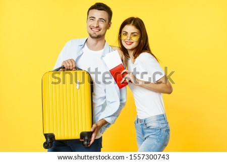 suitcase woman passport tickets man plane #1557300743