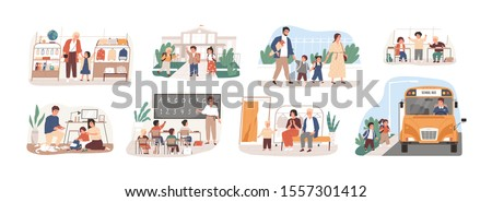 Back to school vector illustrations set. Preparation to Day of knowledge, school supplies buying, first grader gathering. Pupils and teacher, parents and children, bus driver cartoon characters. #1557301412