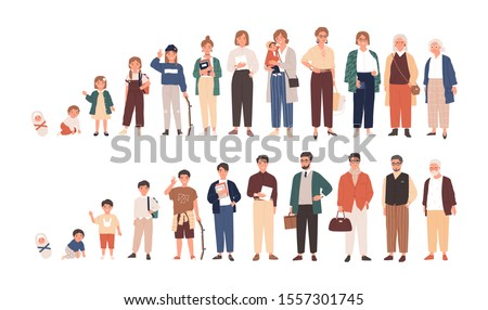 Human life cycles vector illustration. Male and female growing up and aging. Men and women of different ages cartoon characters. Children, adult and old people isolated on white background. Royalty-Free Stock Photo #1557301745