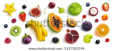 Mix of different fruits and berries isolated on white background, flat lay, top view #1557303194