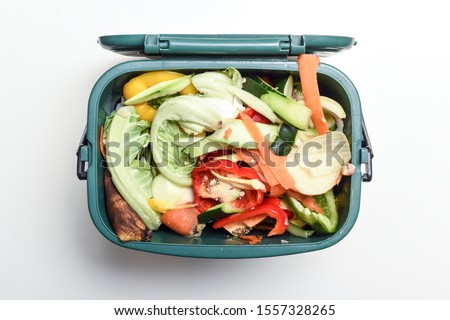Food waste from domestic kitchen Responsible disposal of household food wastage in an environnmentally friendly way by recycling in compost bin at home Royalty-Free Stock Photo #1557328265