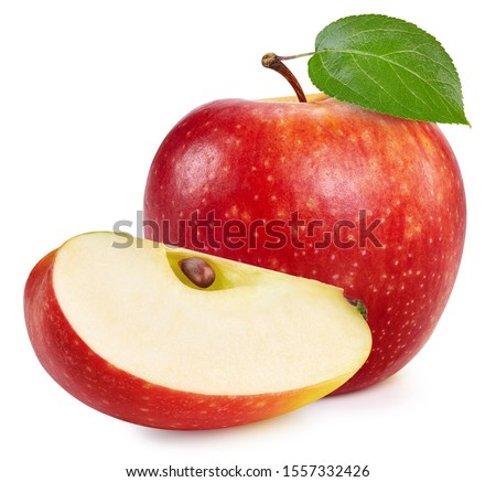 Red apples isolated on white background. Ripe fresh apples Clipping Path. Apple with leaf #1557332426
