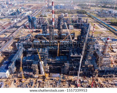 """Grand construction for the chemical and oil industries. Underpasses under construction, chemical metal pipes, combustion plants. Picture """"site under construction"""", """"technical work"""", """"technical break"""""""