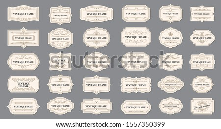 Vector set vintage labels and frame. Vector illustration EPS 10 Royalty-Free Stock Photo #1557350399